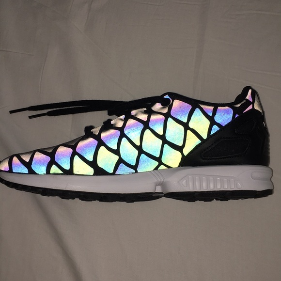 detailed pictures 61b4d a09bf Adidas ZX FLUX XENO Reflective Mermaid Sneakers